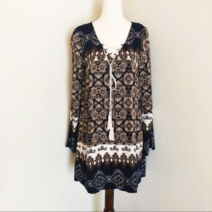 Blu Pepper | boho print tie detail tunic dress
